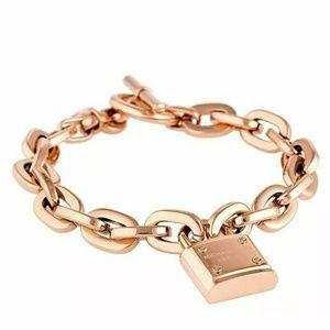 New Michael Kors Rose Gold Logo Padlock Bracelet